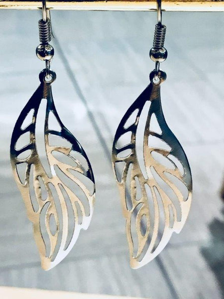 Silver Cut Leaf Earrings