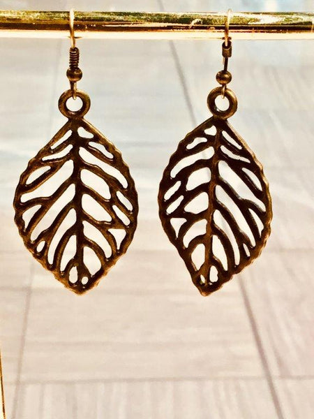 Bronze Leaf Outline Earrings (Large)