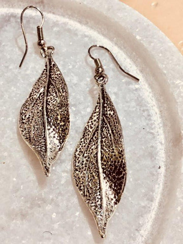 Silver Gum Leaf Earrings (Large) - Free Shipping