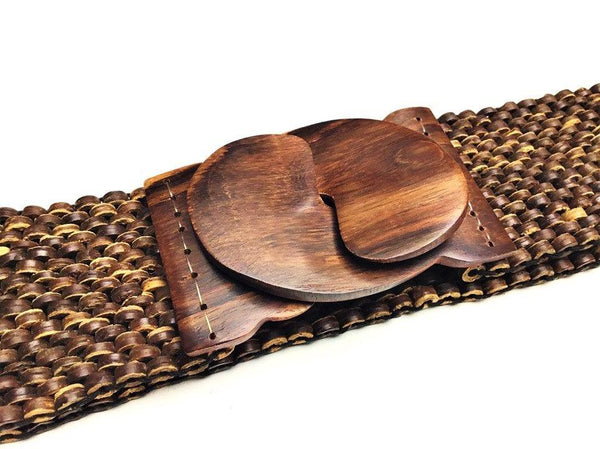 Coconut Shell Stretch Belt with Hand-carved Wood Buckle