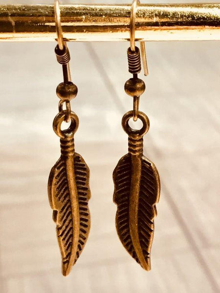Bronze Feather Earrings (Small)