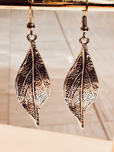 Silver Gum Leaf Earrings (Large)