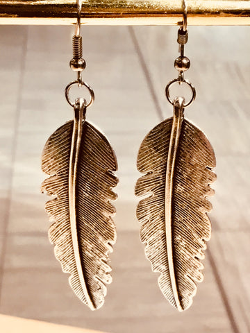 Silver Eagle Feather Earrings (Large) - Free Shipping