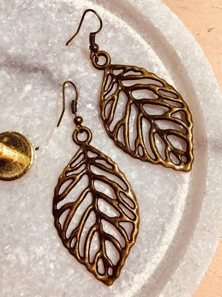 Bronze Leaf Line Earrings (Large)