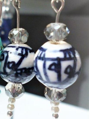 Sterling Silver and Antique White Ceramic Orb Earrings