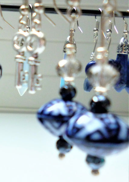Sterling Silver with Japanese Style Ceramic Blue Lantern Earrings - Free Shipping