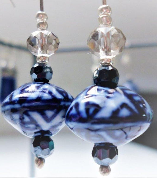 Japanese Style Ceramic Blue Lantern Earrings