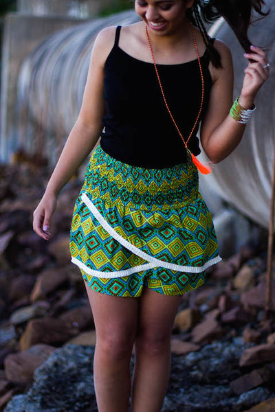Ladies Skorts Aztec Aqua