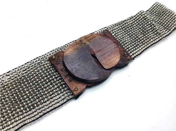 Glass Bead Stretch Belt with Hand-carved Wood Buckle