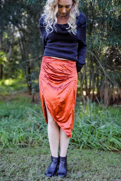 Keira Skirt Velvet Copper