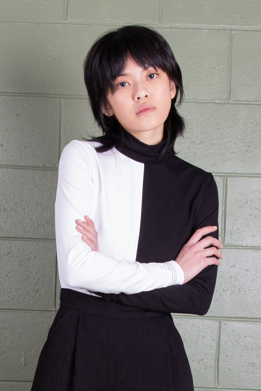 Split Turtleneck - Organic cotton w/ long sleeve