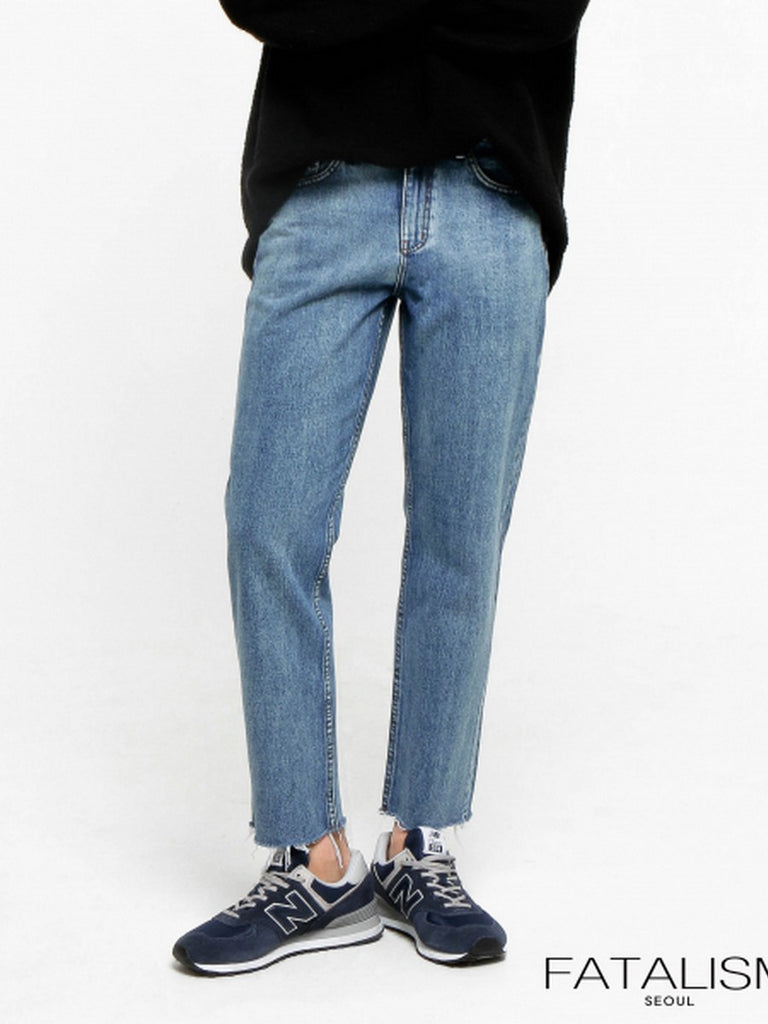 [FATALISM] #0091 Middle Blue Standard Crop Fit Jeans