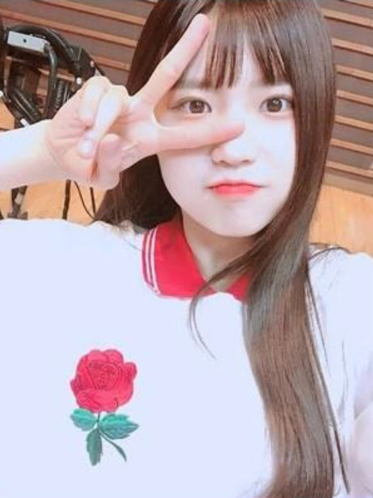 [Fromis_9 하영][EYEYE] ROSE EMBROIDERY PIQUE SHIRT