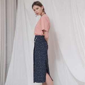 BUTTON POINT DOT LONG WRAP SKIRT