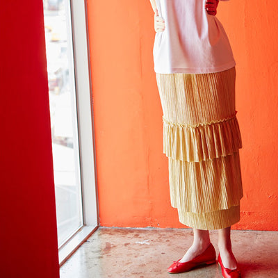 [SEAN MAKES CLOTH] CAN CAN 2 LONG SKIRT YELLOW