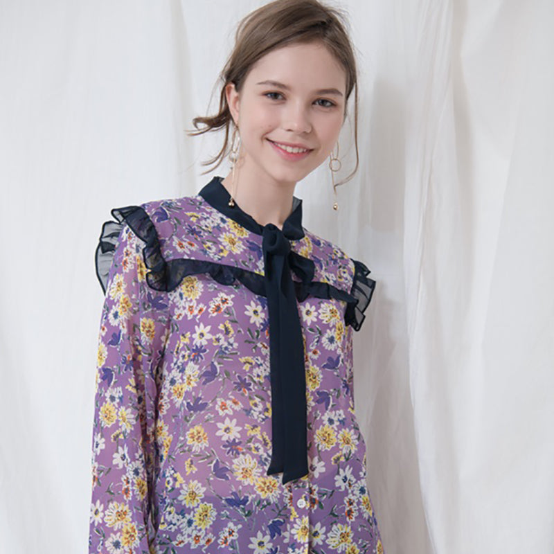 FLOWER PRINTED RIBBON BLOUSE_LAVENDER