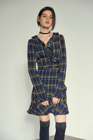 [VEM.VER] RUFFLE POINT SLEEVES CHECK WRAP ONEPIECE