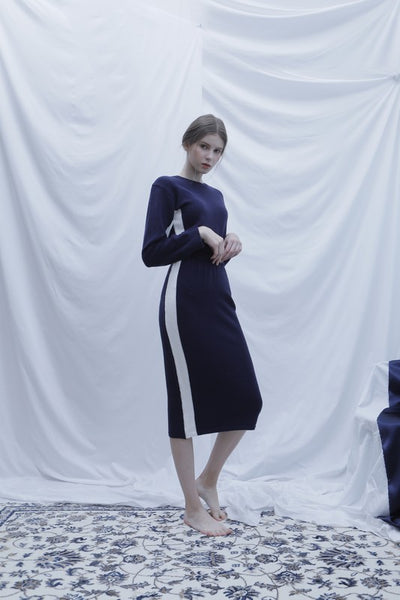 [BIBYSEOB] SIDE LINE KNIT SKIRT NAVY