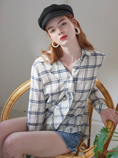[VEM.VER] DRAPE PLACKET CHECK SHIRTS