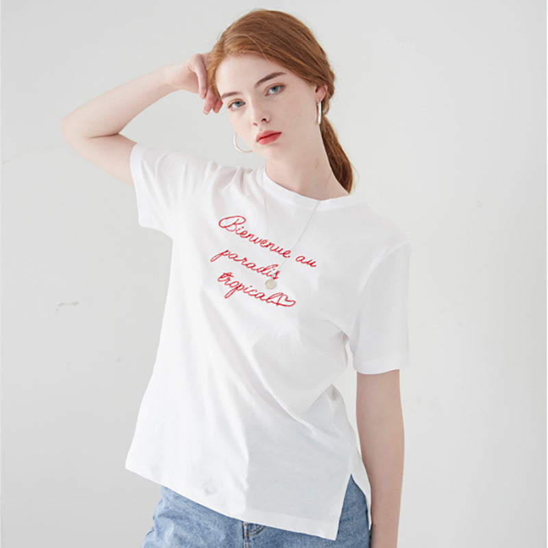 [VEM.VER] LETTERING HALF SLEEVES WHITE TOP