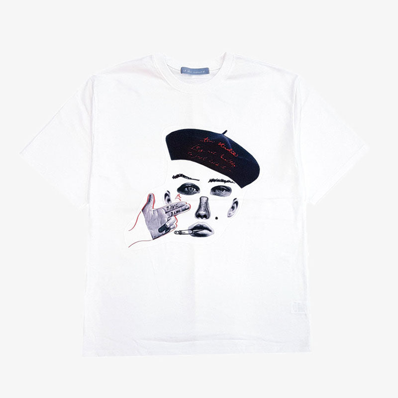 [AT THE MOMENT] Collage Half T-shirt (WHITE)