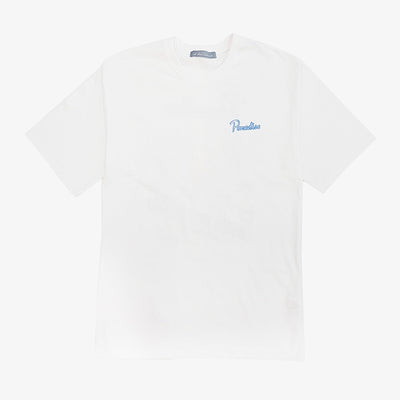 [AT THE MOMENT] Beer Print Half T-shirt (WHITE)
