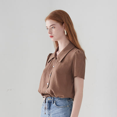 [VEM.VER] FLAT COLLAR CROP BLOUSE_BROWN