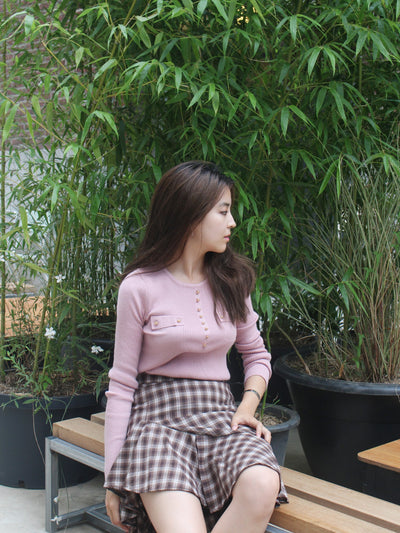 [KEYCLUE] UNBALANCE RUFFLE SKIRT (BROWN)