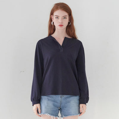 [VEM.VER] HENLEY NECK LONG SLEEVES TOP_NAVY