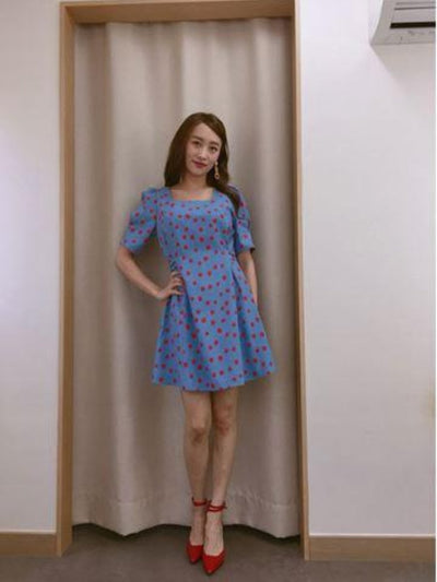 [HWANG BORA, NICOLE (니콜)][SALON DE YOHN] Dot Puff Shoulder Dress_Blue