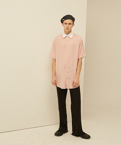 [13MONTH] BELTED HALF LONG SHIRT (PINK)
