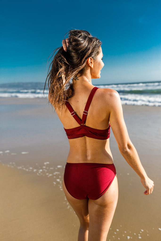 [CHAE LOOK] V NECK LOW CUT BURGUNDY MONOKINI