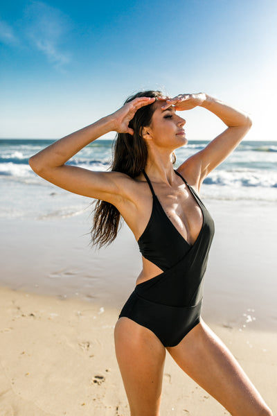 [CHAE LOOK] TWO WRAP COLOR MONOKINI_BLACK