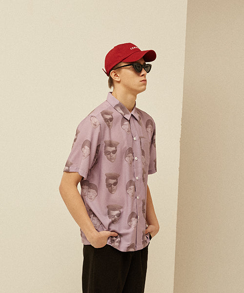 [13MONTH] FACE PRINTING ALOHA SHIRT (PURPLE)