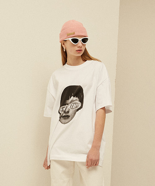 [13MONTH] FACE PRINTING T-SHIRT (WHITE)