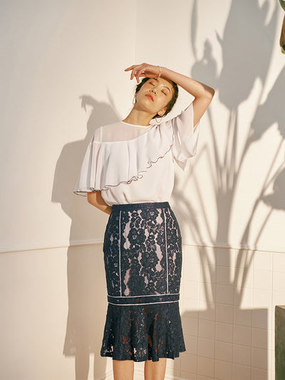 [OH.L]  FLOWER LACE MERMAID SKIRT_NAVY