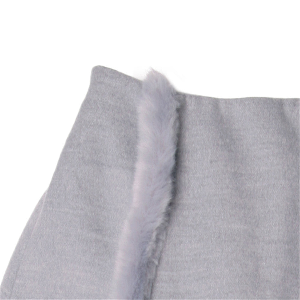 [ETHRICA]FUR POINT SKIRT  GRAY