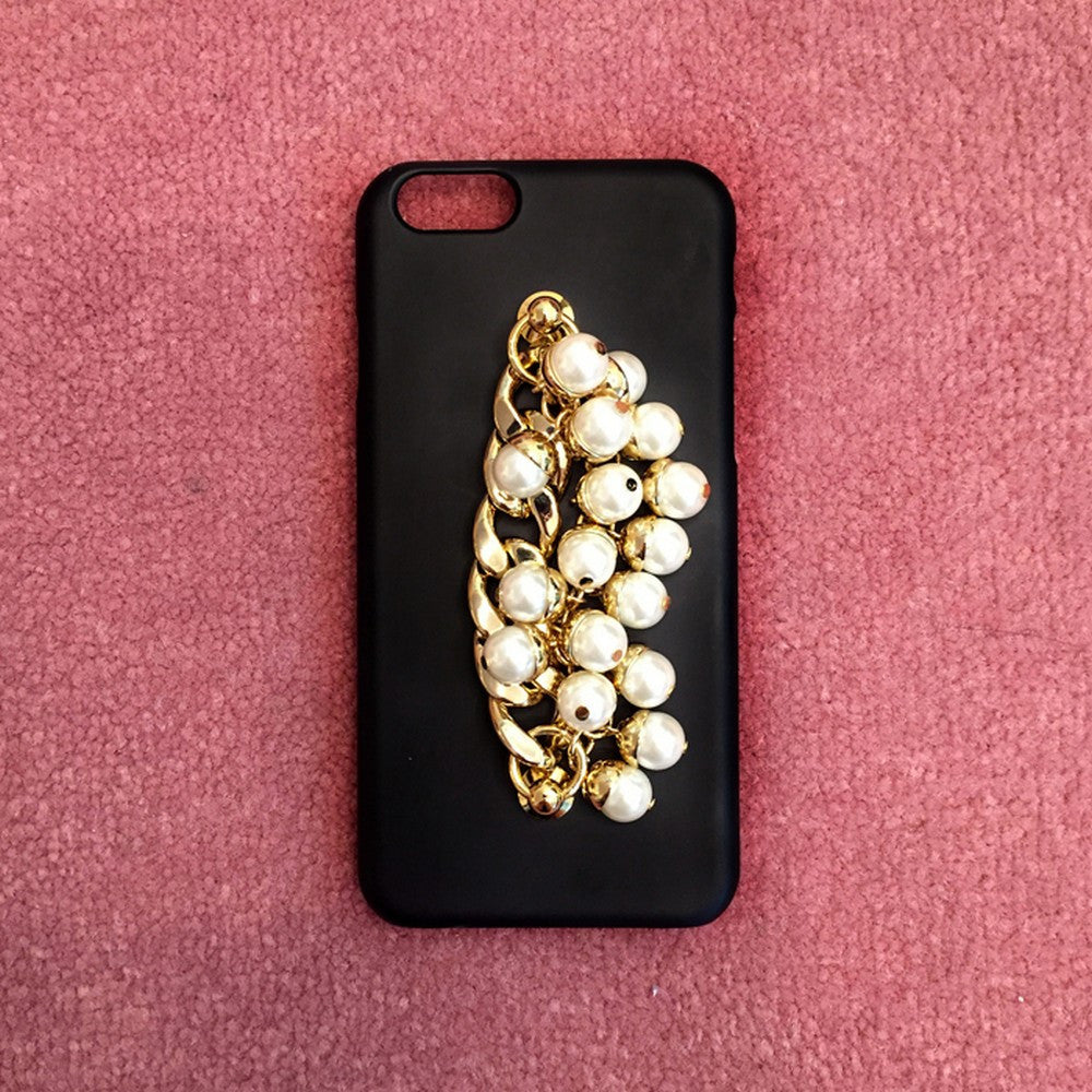 [MIDNIGHT MOMENT] pearl gold chain black case