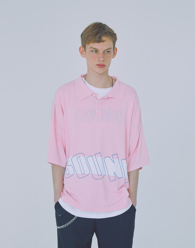 [WOOZO] 18 SS 14 sound stripe neck T (pink)