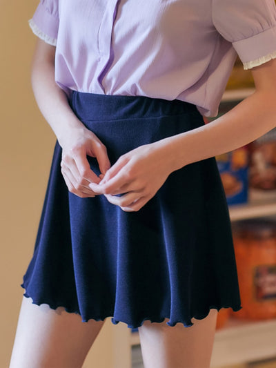 [LUV IS TRUE] RO FLARED SKIRT (NAVY)