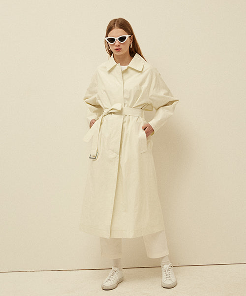 [13MONTH] SINGLE LONG TRENCH COAT (IVORY)