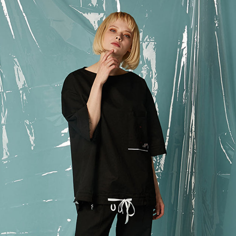 [AT THE MOMENT] String Pullover Shirt (BLACK)