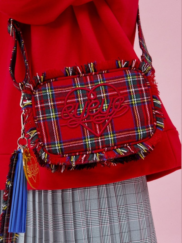 [EYEYE] TARTAN CHECK COMBINATION POUCH BAG_RED