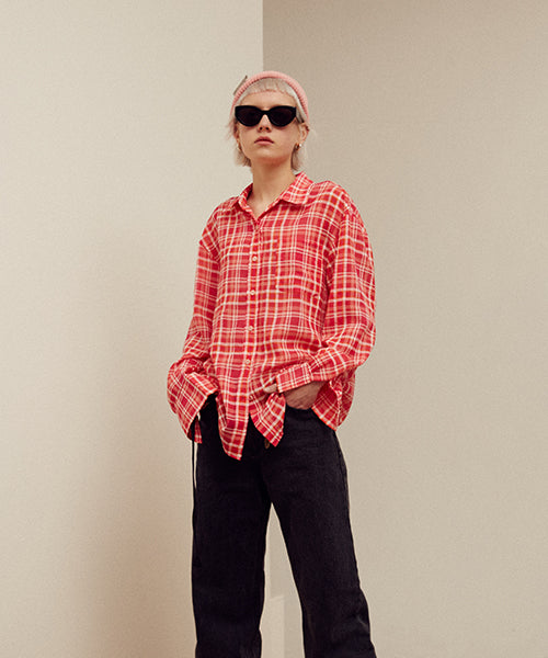[Actress 이주연][13MONTH] TARTAN CHECK SHIRT (RED)