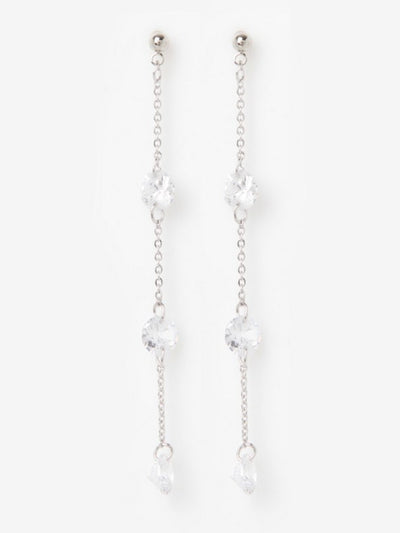 [J.GRACELET] Drop Crystal Earrings (White)