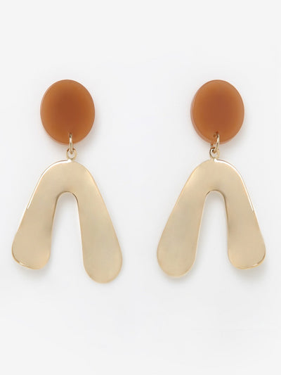 [J.GRACELET] Metal A Earrings (Brown)