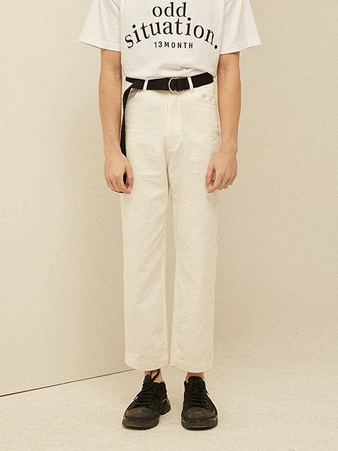 [13MONTH] WIDE CROP COTTON PANTS (IVORY)
