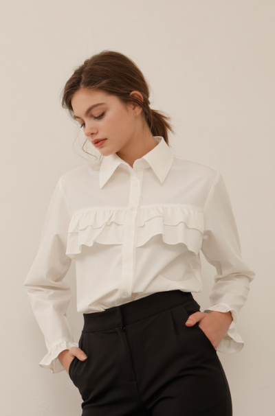 [YUPPE] two flare blouse (white)