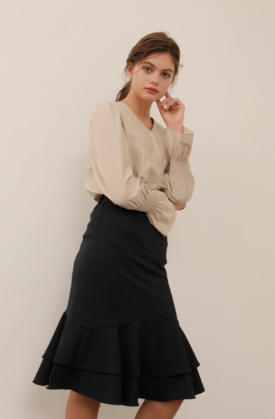 [YUPPE] triangle skirt (navy)