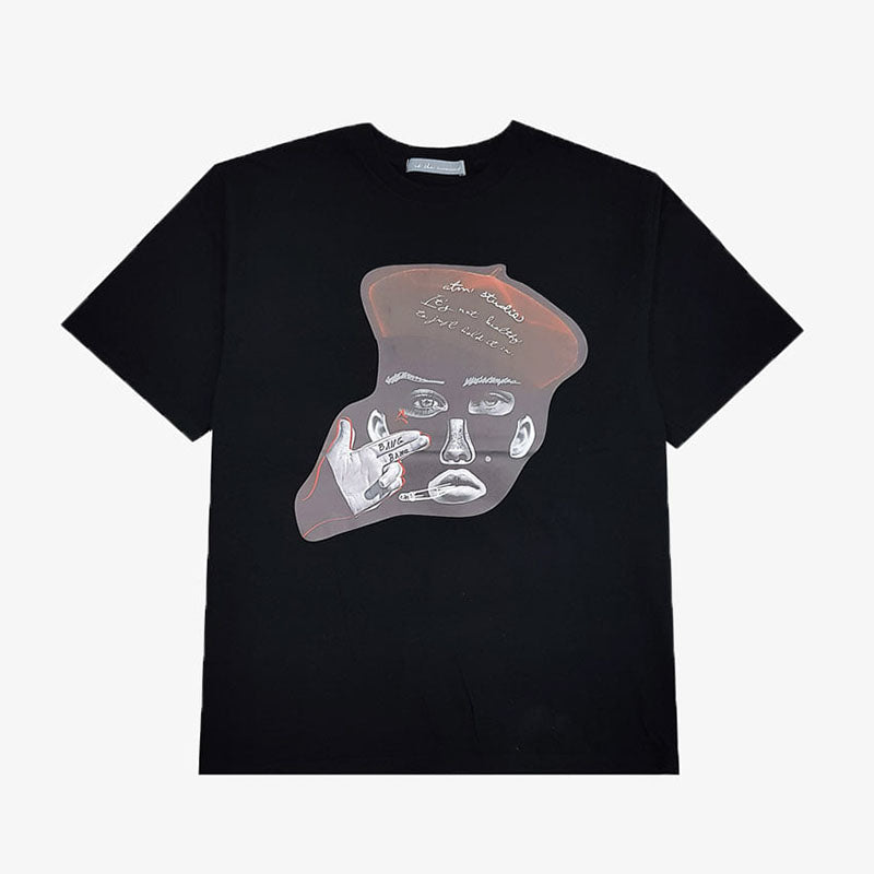 [AT THE MOMENT] Collage Half T-shirt (BLACK)